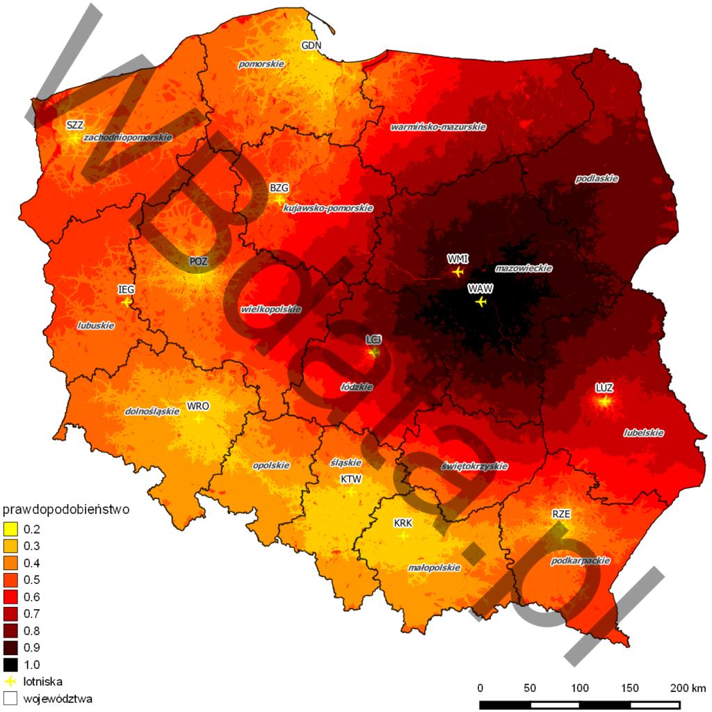 Przykład wyniku analizy konkurencji lotnisk w Polsce. Zasięg oddziaływania lotniska Warszawa-Okęcie. Model Huffa.