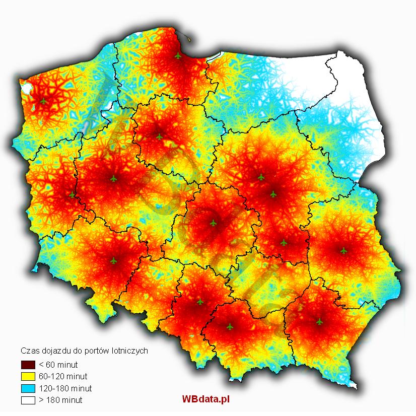 Dostępność czasowa do polskich lotnisk - Accumulated cost. Dostępność portów lotniczych