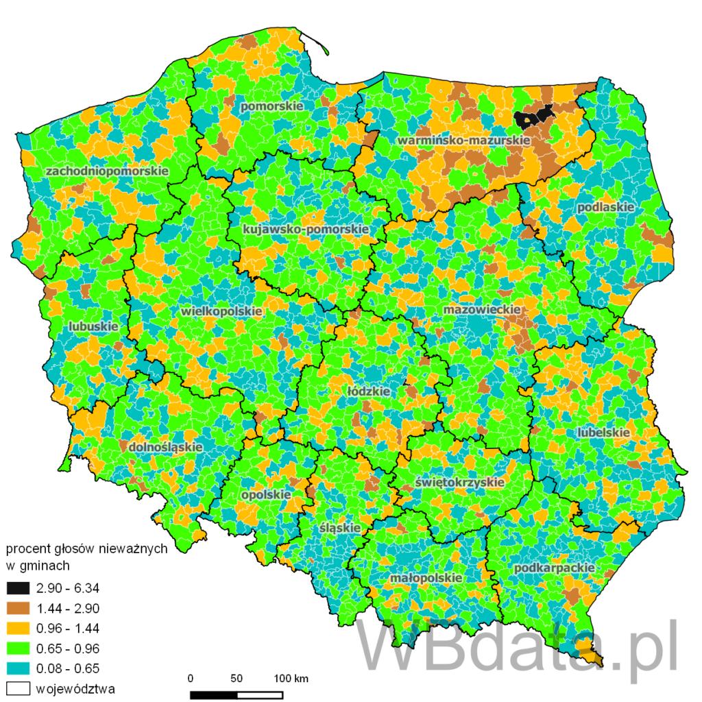Głosy nieważne w wyborach prezydenckich w 2005 roku (I tura) w gminach