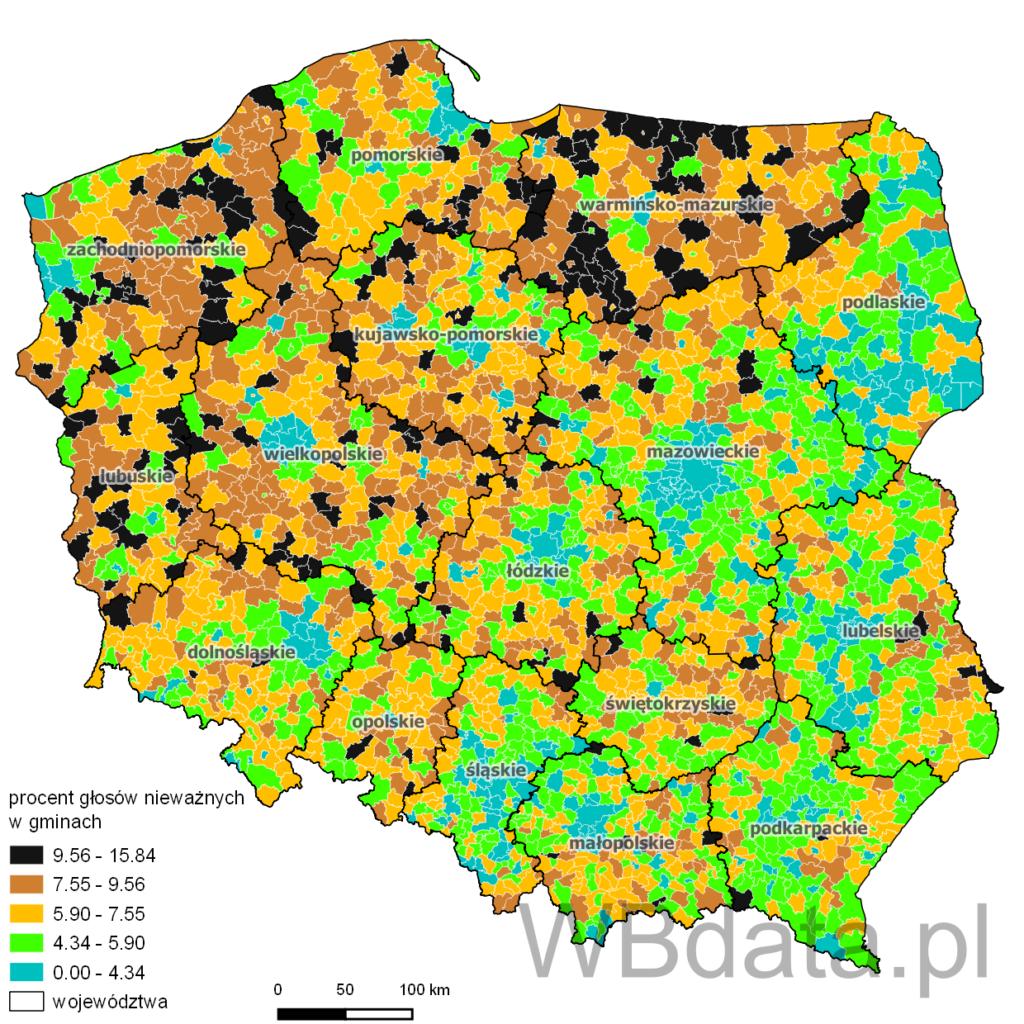 Głosy nieważne oddane w gminach w wyborach do sejmu w 2011 roku