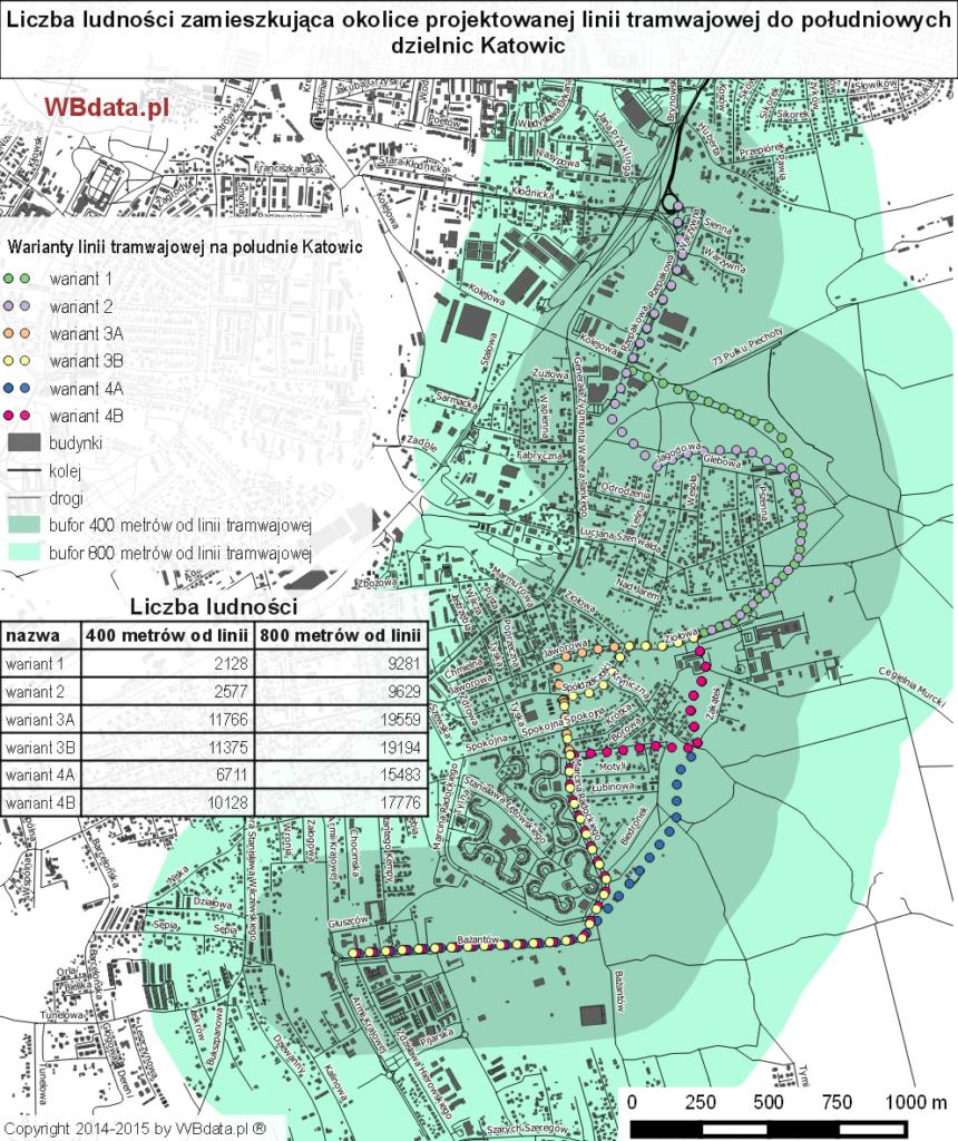Mapa przedstawia warianty przebiegu nowej linii tramwajowej na południe Katowic