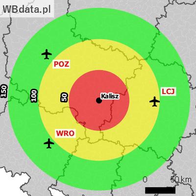 Miasto Kalisz na mapie z zaznaczonymi najbliższymi lotniskami