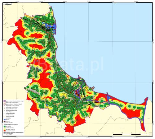 Mapa dostępności komunikacji publicznej w Trójmieście.