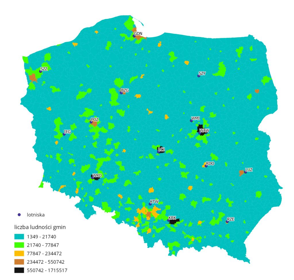 Mapa rozmieszczenia polskich lotnisk na tle liczby ludności.
