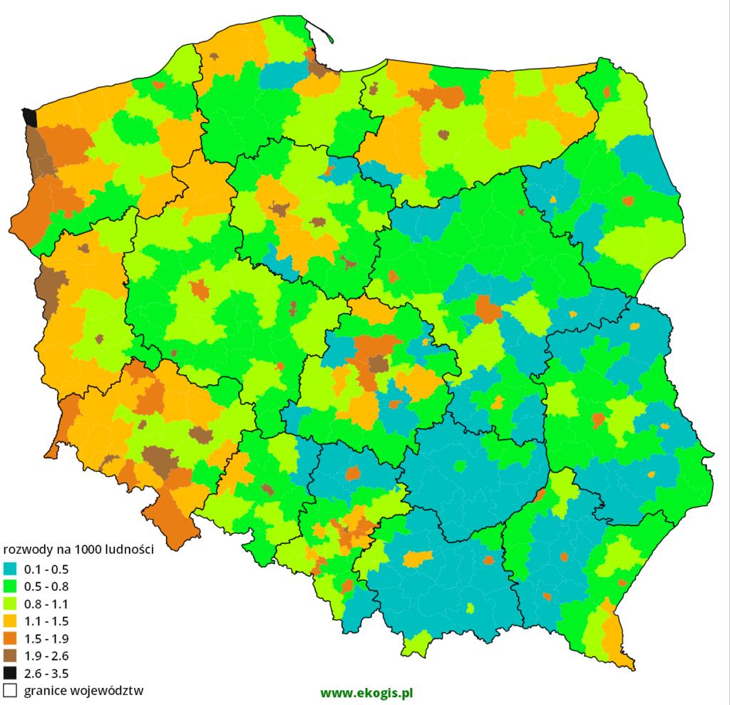 Mapa rozwodów w 2002 roku w Polsce