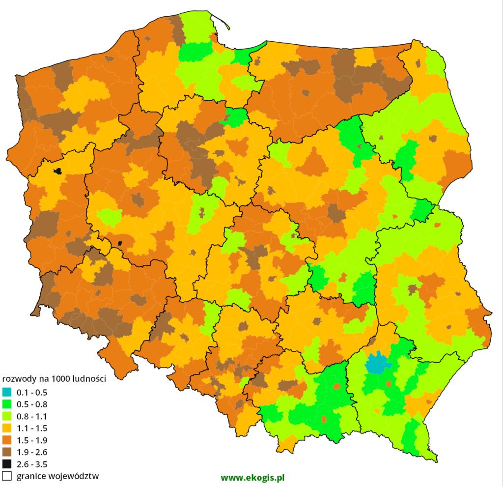 Mapa rozwodów w 2012 roku w Polsce