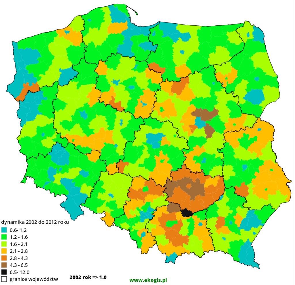 Mapa dynamiki rozwodów w latach 2002-2012 w Polsce
