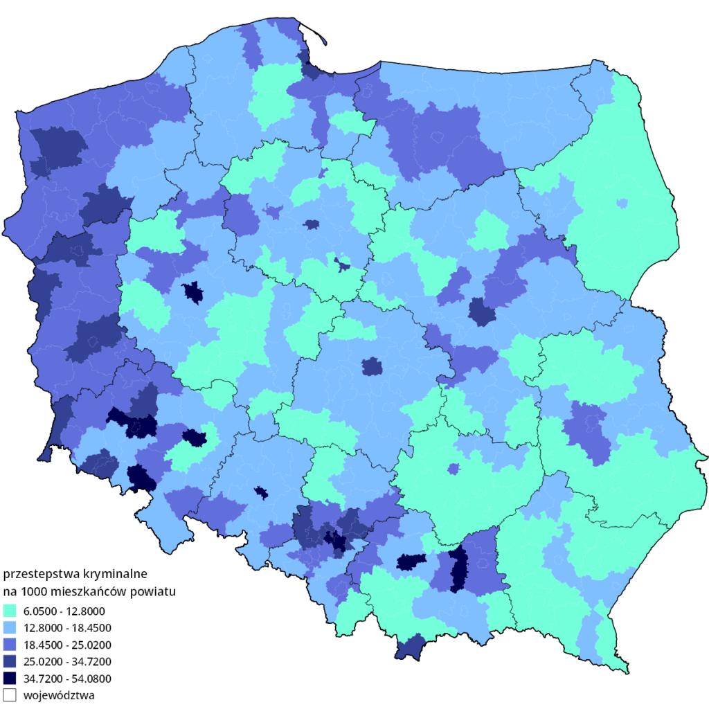 Przestępstwa kryminalne w Polsce w 2012 roku. Mapa liczby przestępstw na 1000 mieszkańców powiatu.