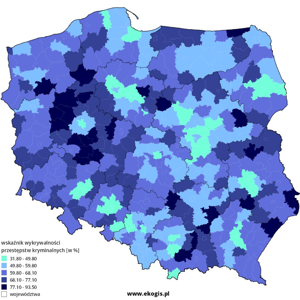 Mapa wykrywalności przestępstw kryminalnych w 2012 roku