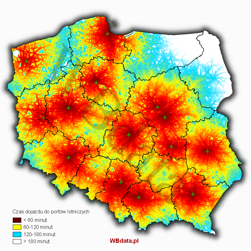 Time accessibility of Polish airports - Accumulated cost.