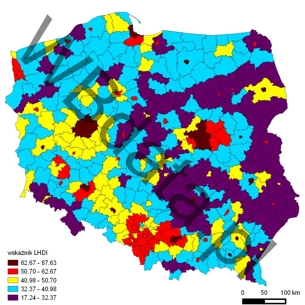 Mapa przedstawia wskaźnik LHDI