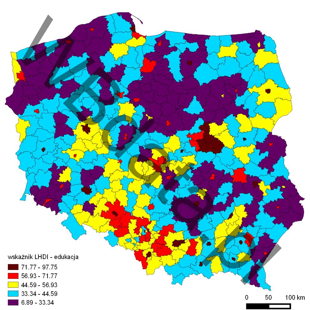 Mapa przedstawia wskaźnik LHDI - wymiar edukacji