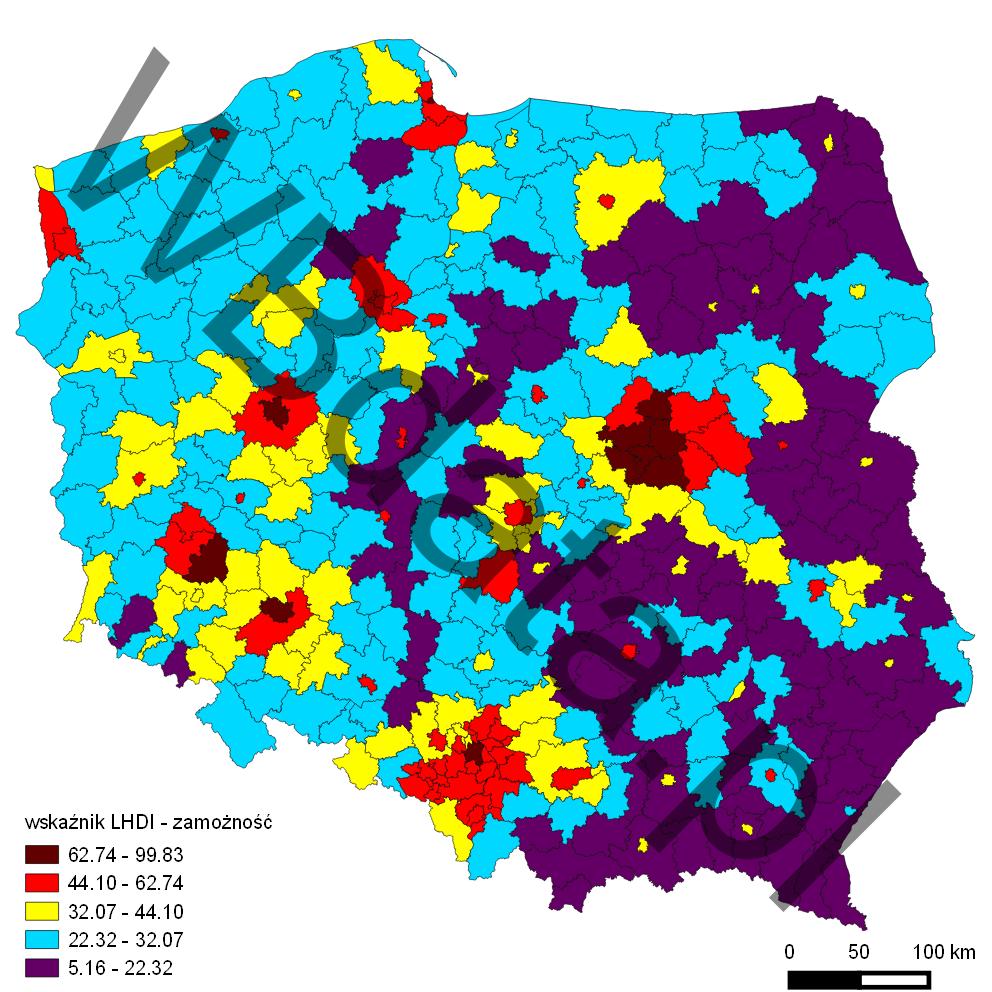Mapa przedstawia wskaźnik LHDI - wymiar zamożności