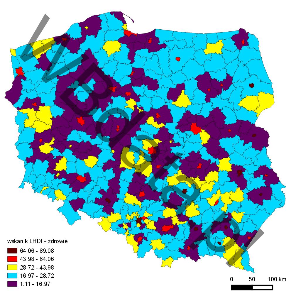 Mapa przedstawia wskaźnik LHDI - wymiar zdrowia