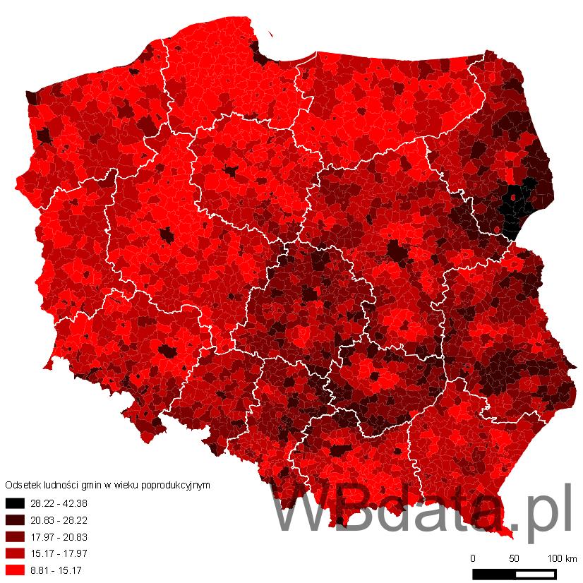 Mapa prezentuje odsetek ludności gmin w wieku poprodukcyjnym na tle województw w 2013 roku