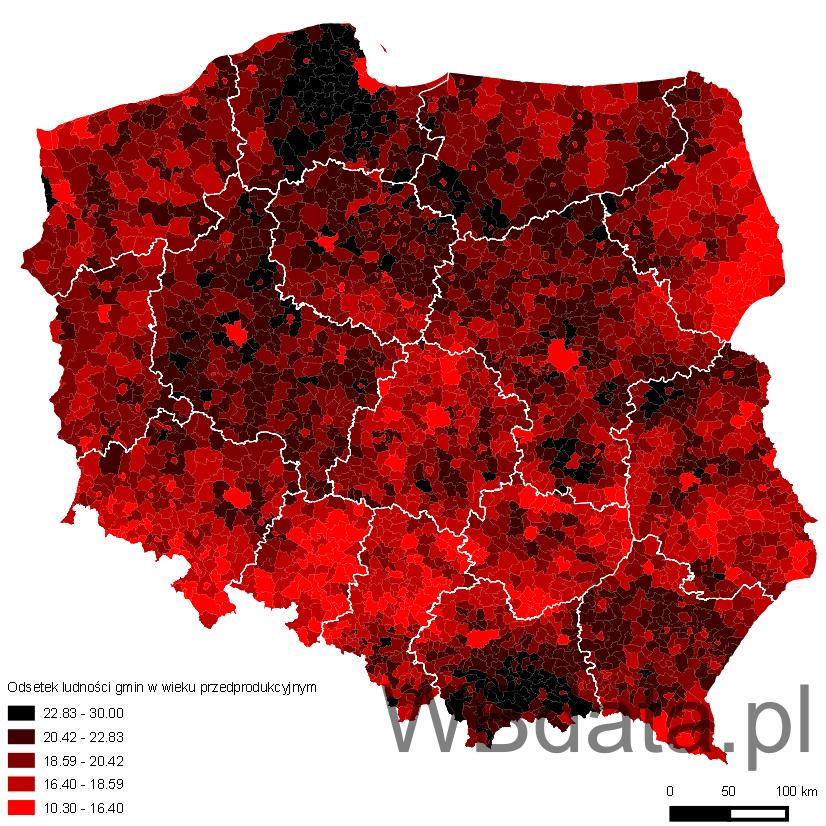 Mapa prezentuje odsetek ludności gmin w wieku przedprodukcyjnym na tle województw w 2013 roku
