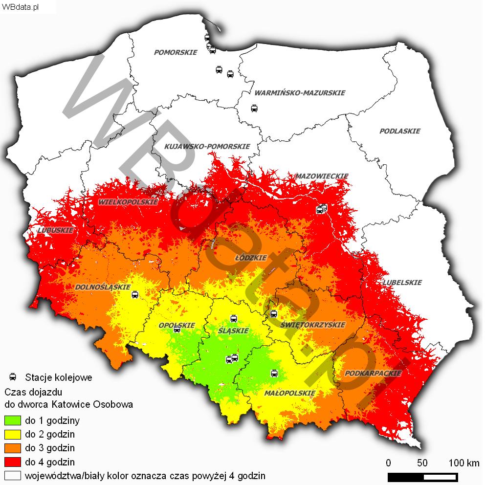 Mapa przedstawia czasową dostępność drogową do dworca w Katowicach