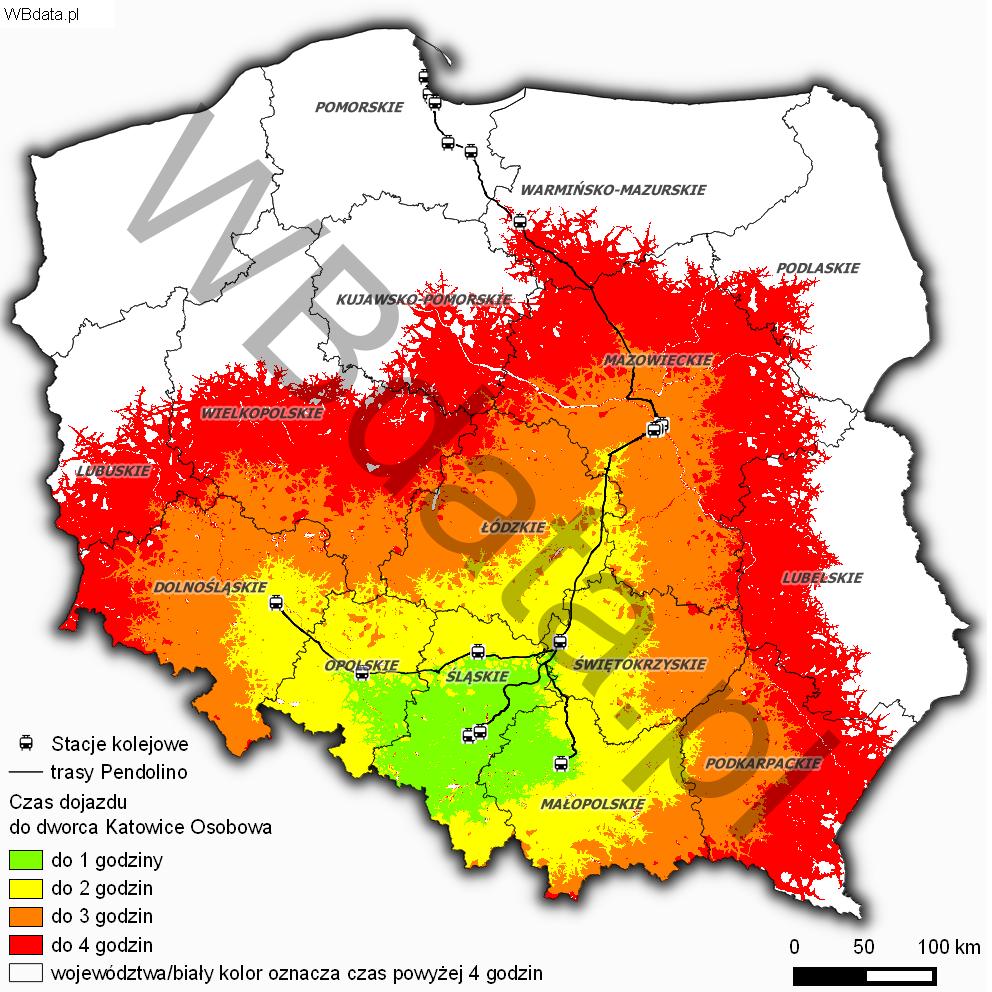 Mapa przedstawia czasową dostępność drogow-kolejową do dworca w Katowicach