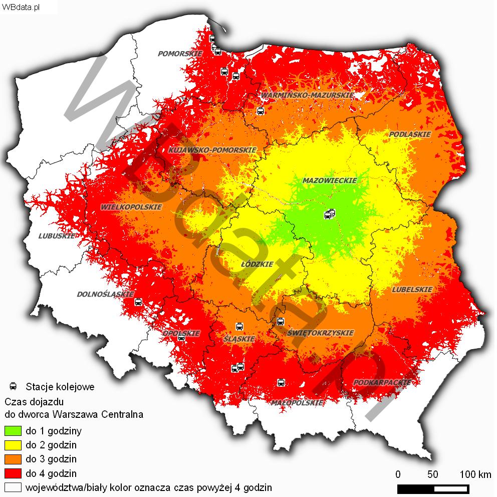 Mapa przedstawia czasową dostępność drogową do dworca Centralnego w Warszawie