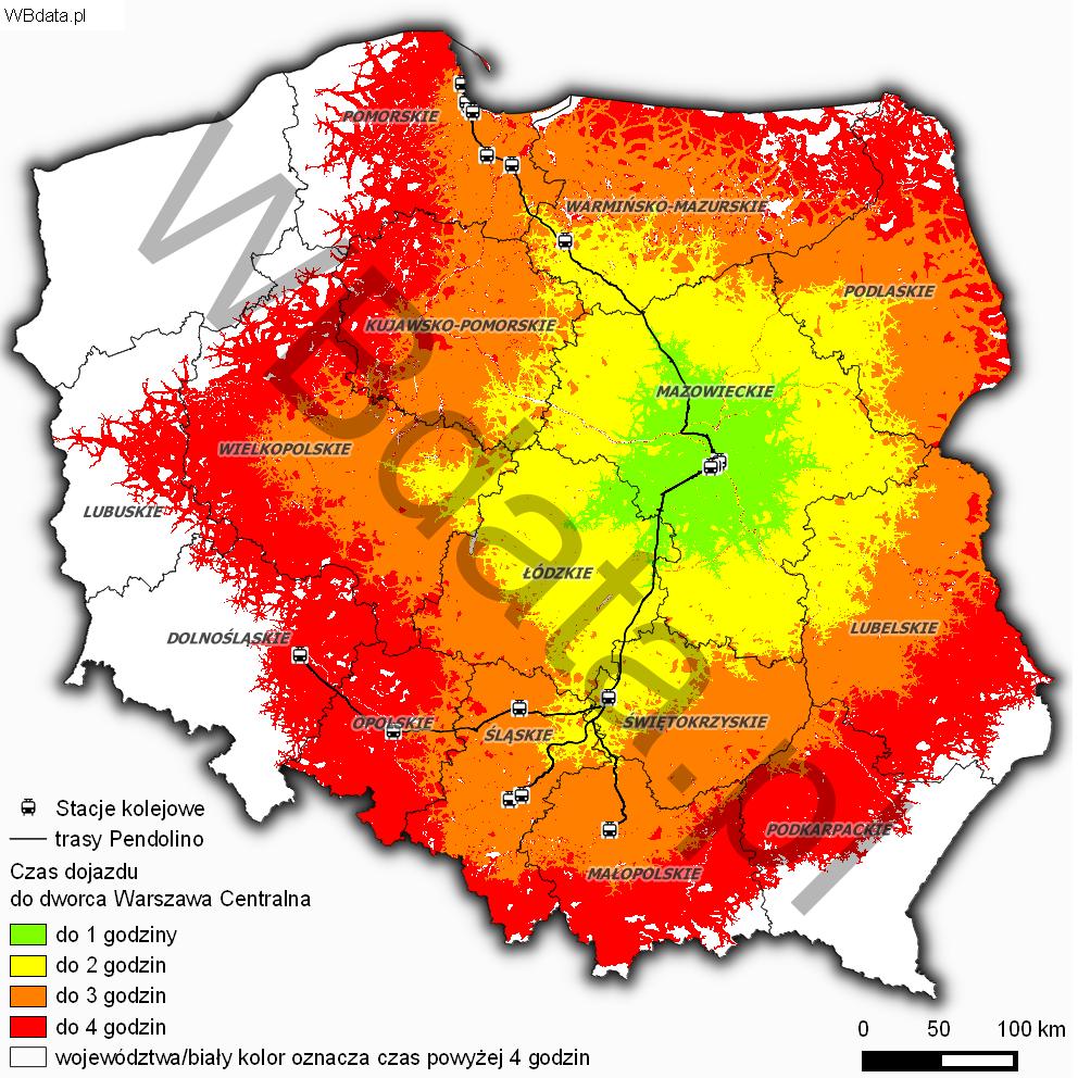Mapa przedstawia czasową dostępność drogowo-kolejową do dworca Centralnego w Warszawie