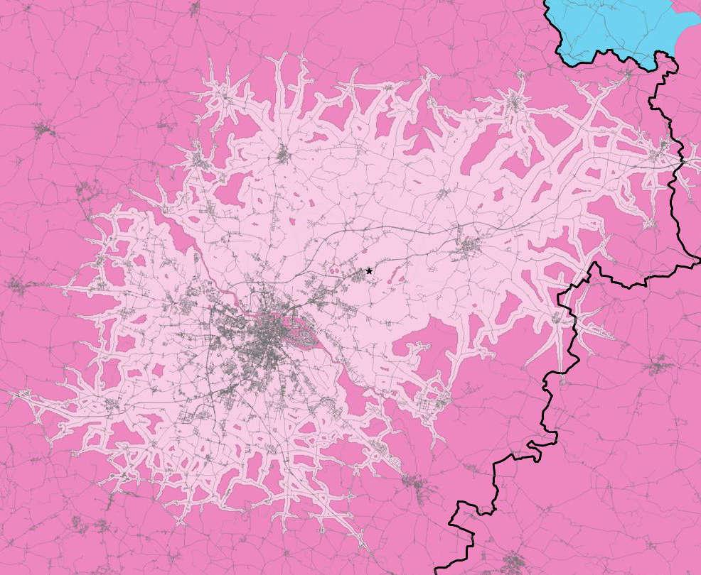 Catchment Area - przykład obszaru oddziaływania do 60 minut od punktu usługowego