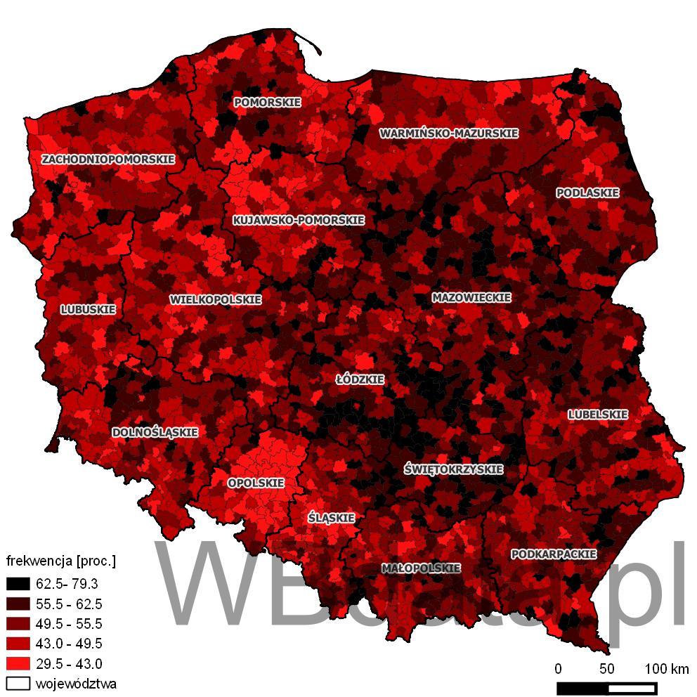 Mapa przedstawia frekwencję w wyborach do sejmików wojewódzkich w 2014 roku.