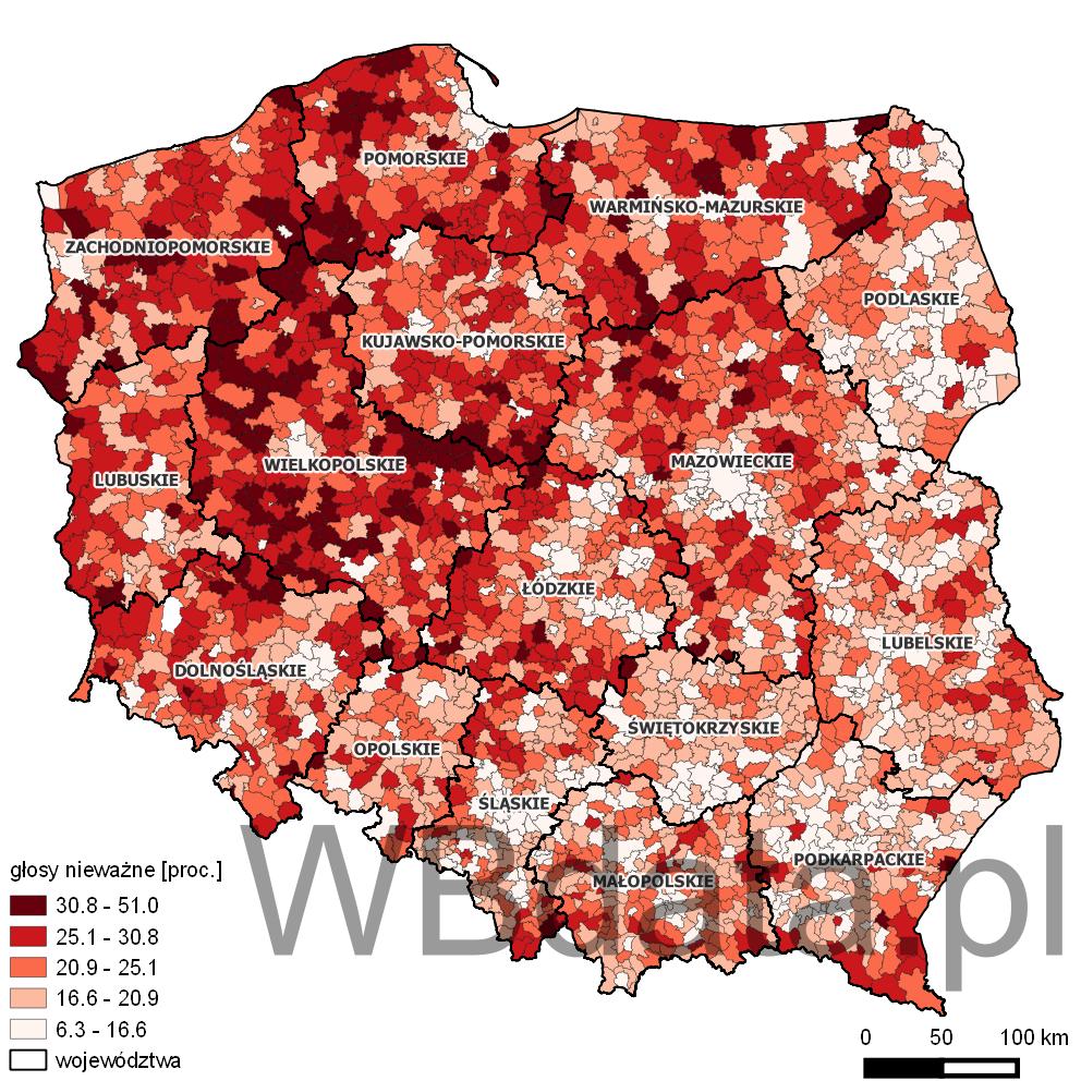 Mapa przedstawia odsetek głosów nieważnych w wyborach do sejmików wojewódzkich w 2014 roku.