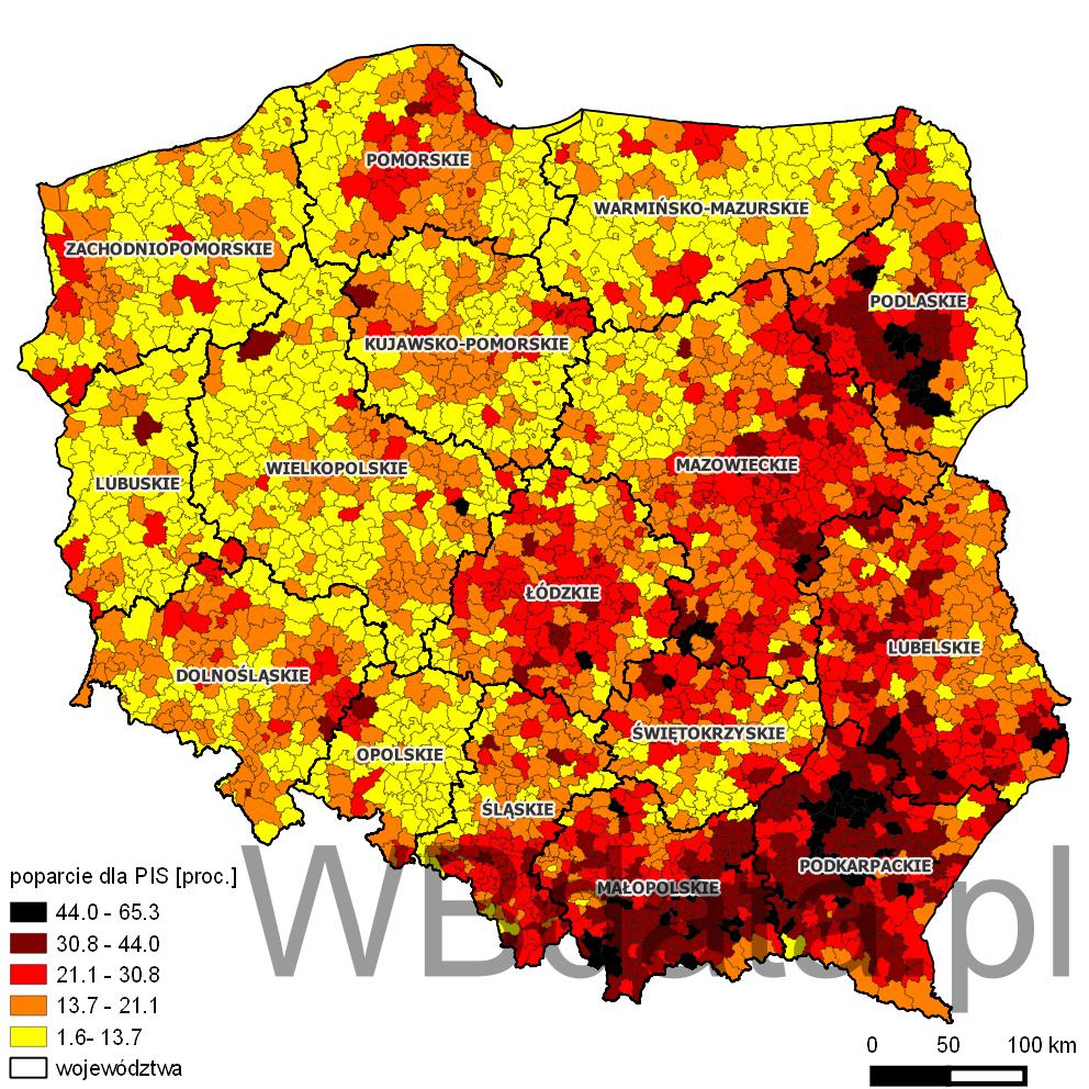 Mapa przedstawia odsetek głosów oddanych na partię Prawo i Sprawiedliwość w wyborach do sejmików wojewódzkich w 2014 roku.