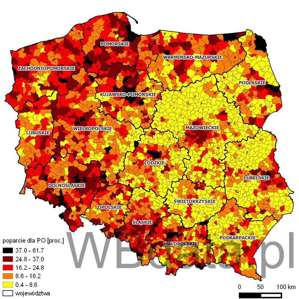 Mapa przedstawia odsetek głosów oddanych na partię Platforma Obywatelska w wyborach do sejmików wojewódzkich w 2014 roku.