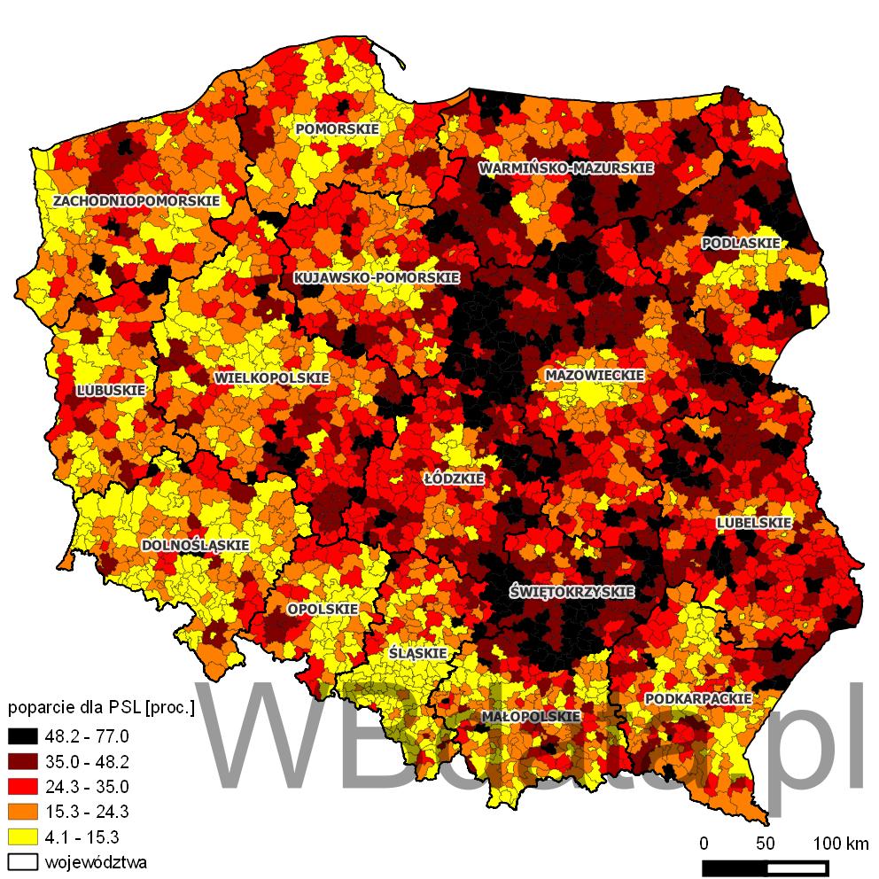 Mapa przedstawia odsetek głosów oddanych na partię Polskie Stronnictwo Ludowe w wyborach do sejmików wojewódzkich w 2014 roku.