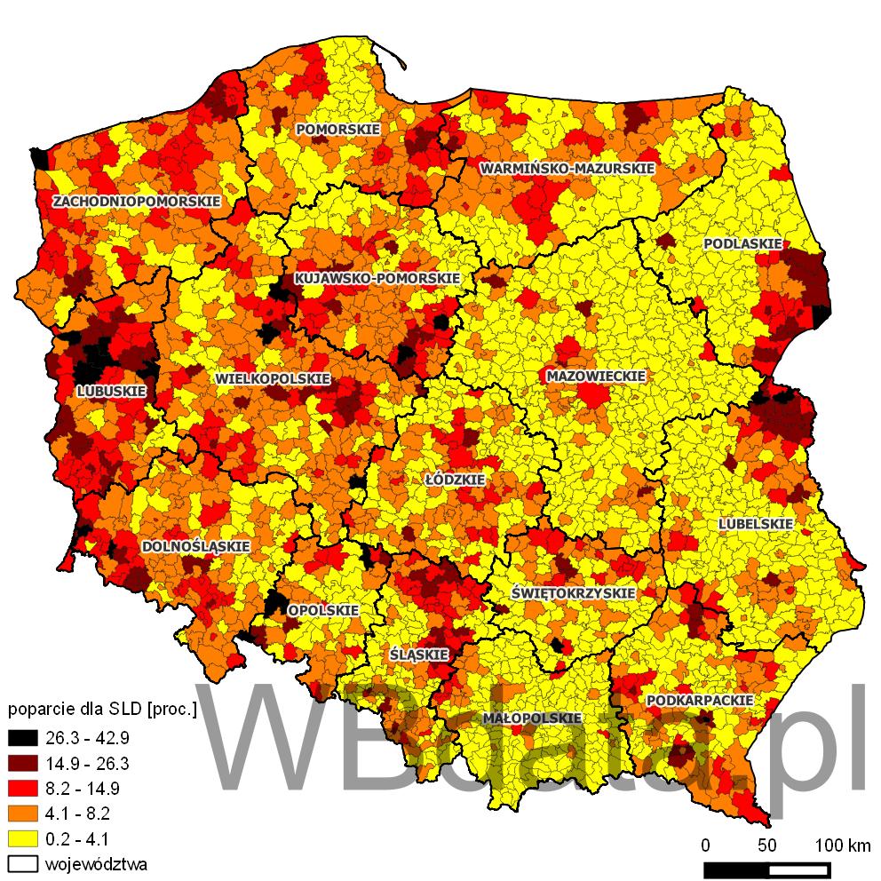 Mapa przedstawia odsetek głosów oddanych na partię Sojusz Lewicy Demokratycznej w wyborach do sejmików wojewódzkich w 2014 roku.