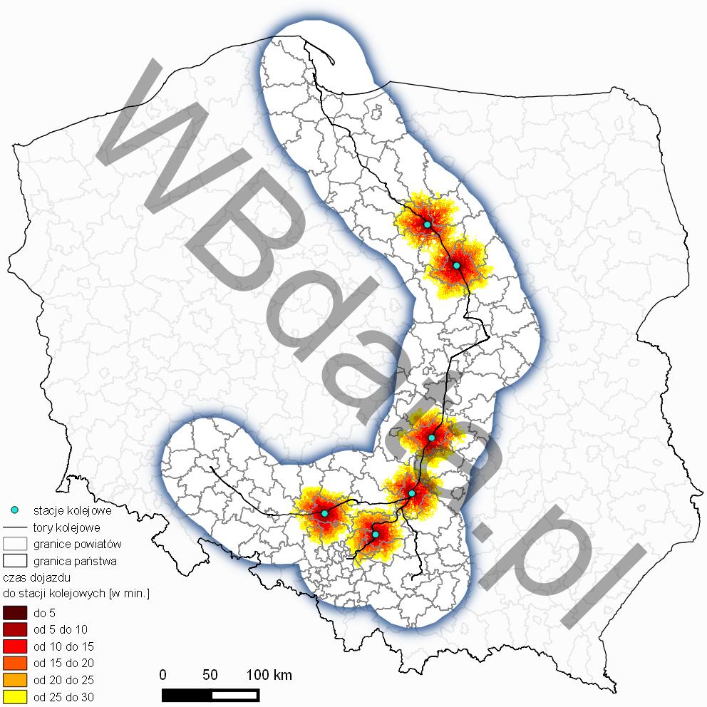 Mapa przedstawia przebieg linii kolejowej, po której mknie Pendolino z dostępnością czasową do badanych stacji kolejowych