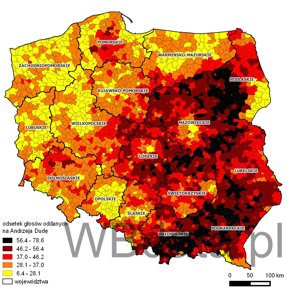 Mapa przedstawiająca odsetek głosów oddanych na Andrzeja Dudę