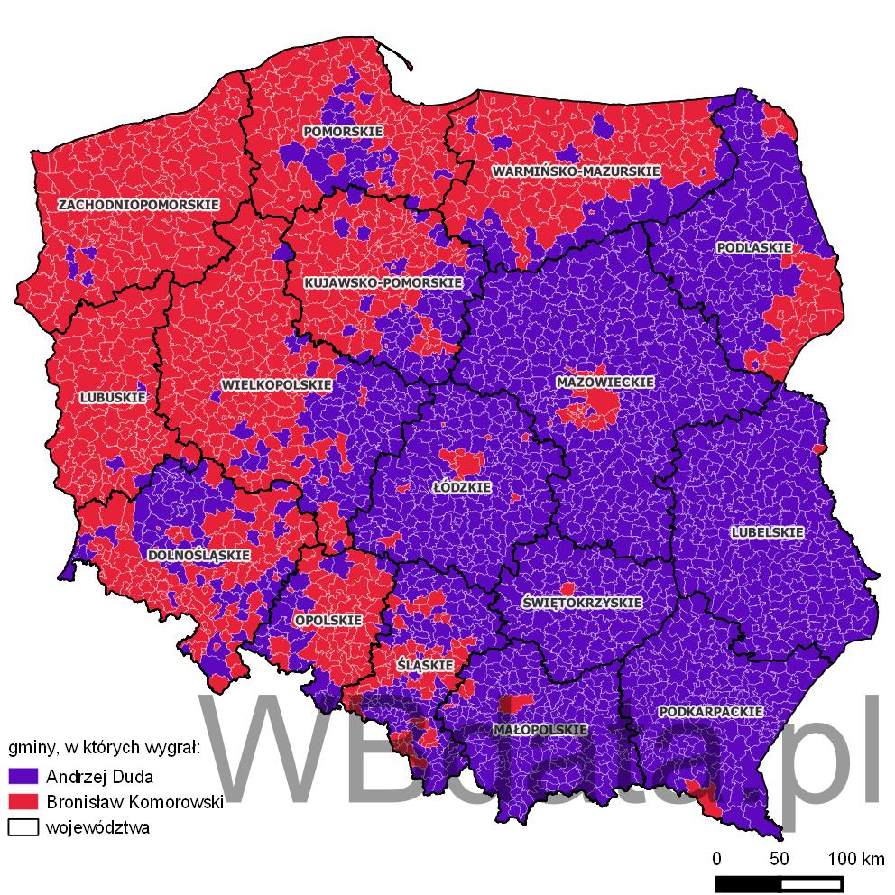 Mapa gmin w których wygrał Andrzej Duda lub Bronisław Komorowski.