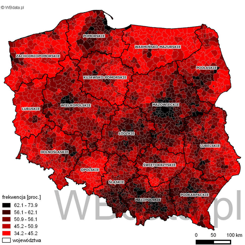 Mapa przedstawia rozkład frekwencji w wyborach Prezydenta 2015 w drugiej turze.