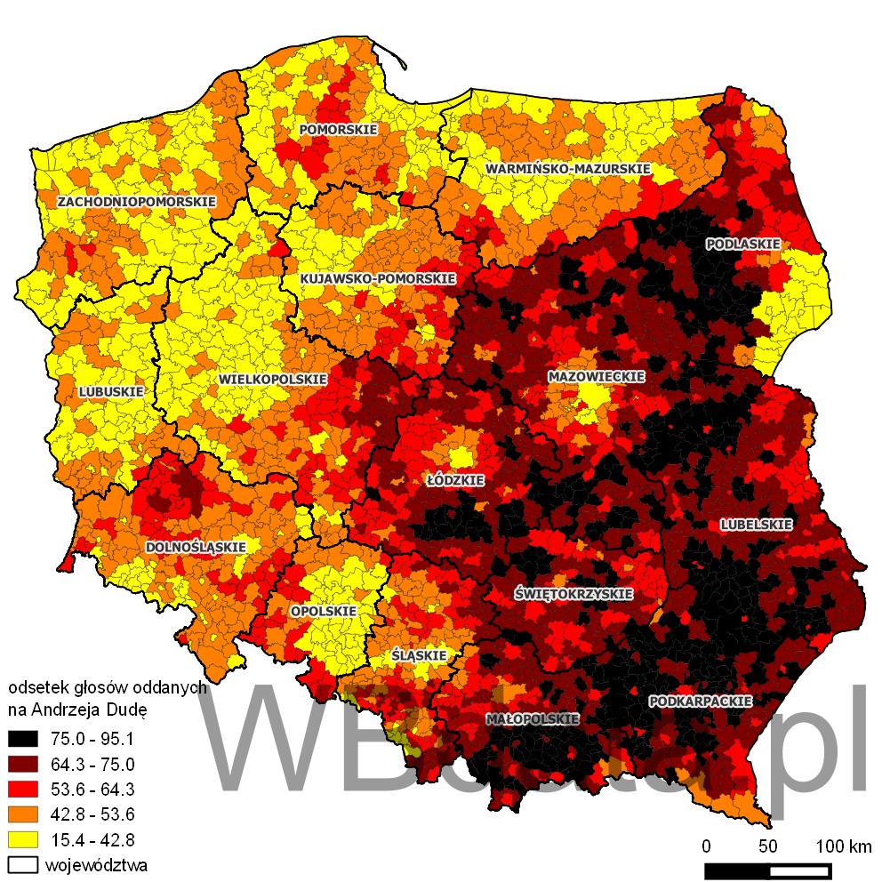 Mapa poparcia dla Andrzeja Dudy w wyborach Prezydenta 2015 w drugiej turze.