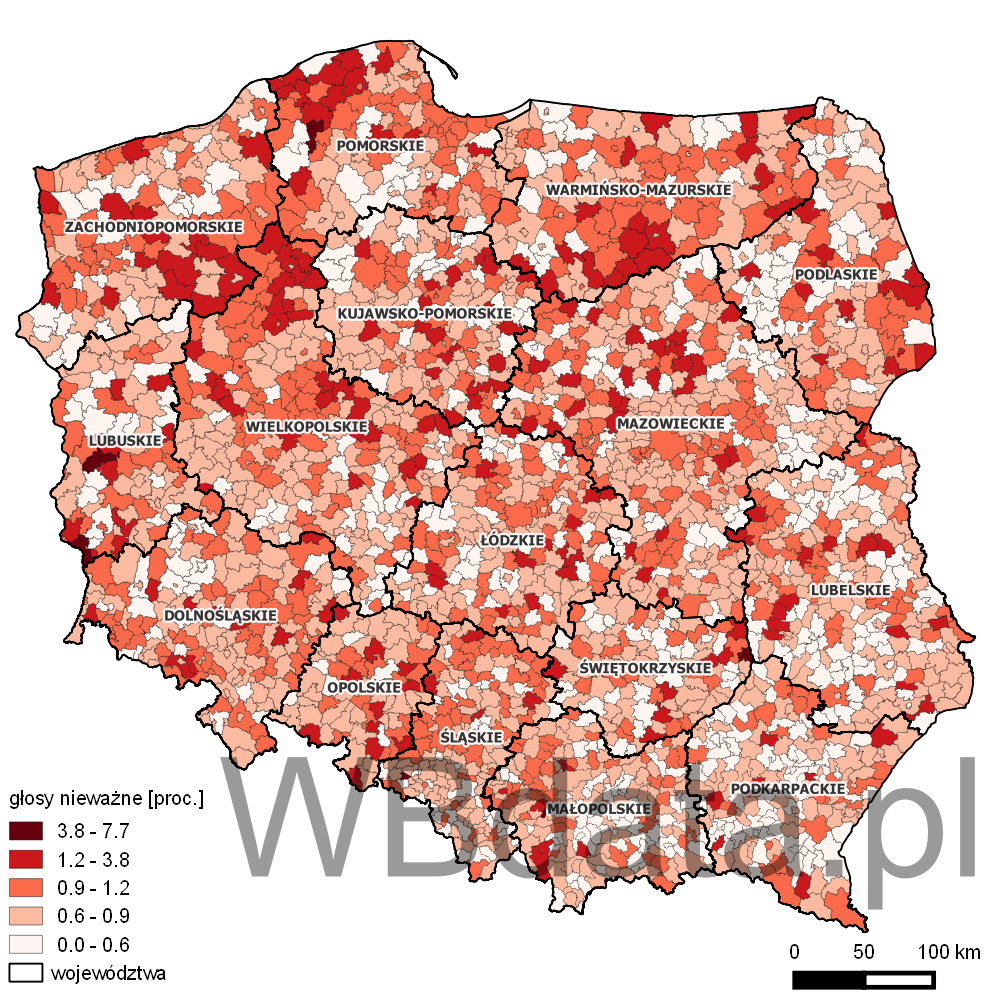 Mapa przedstawiająca odsetek głosów nieważnych w wyborach prezydenta 2015 - I tura