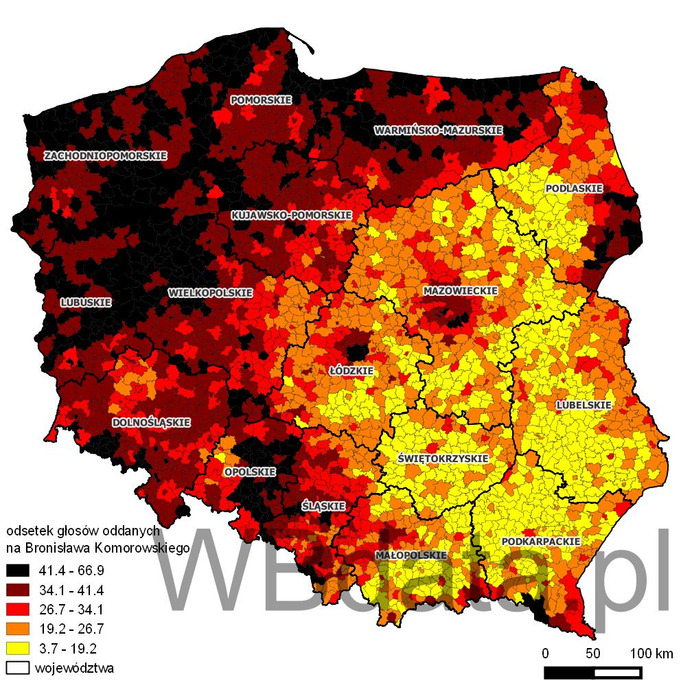 Mapa przedstawiająca odsetek głosów oddanych na Bronisława Komorowskiego