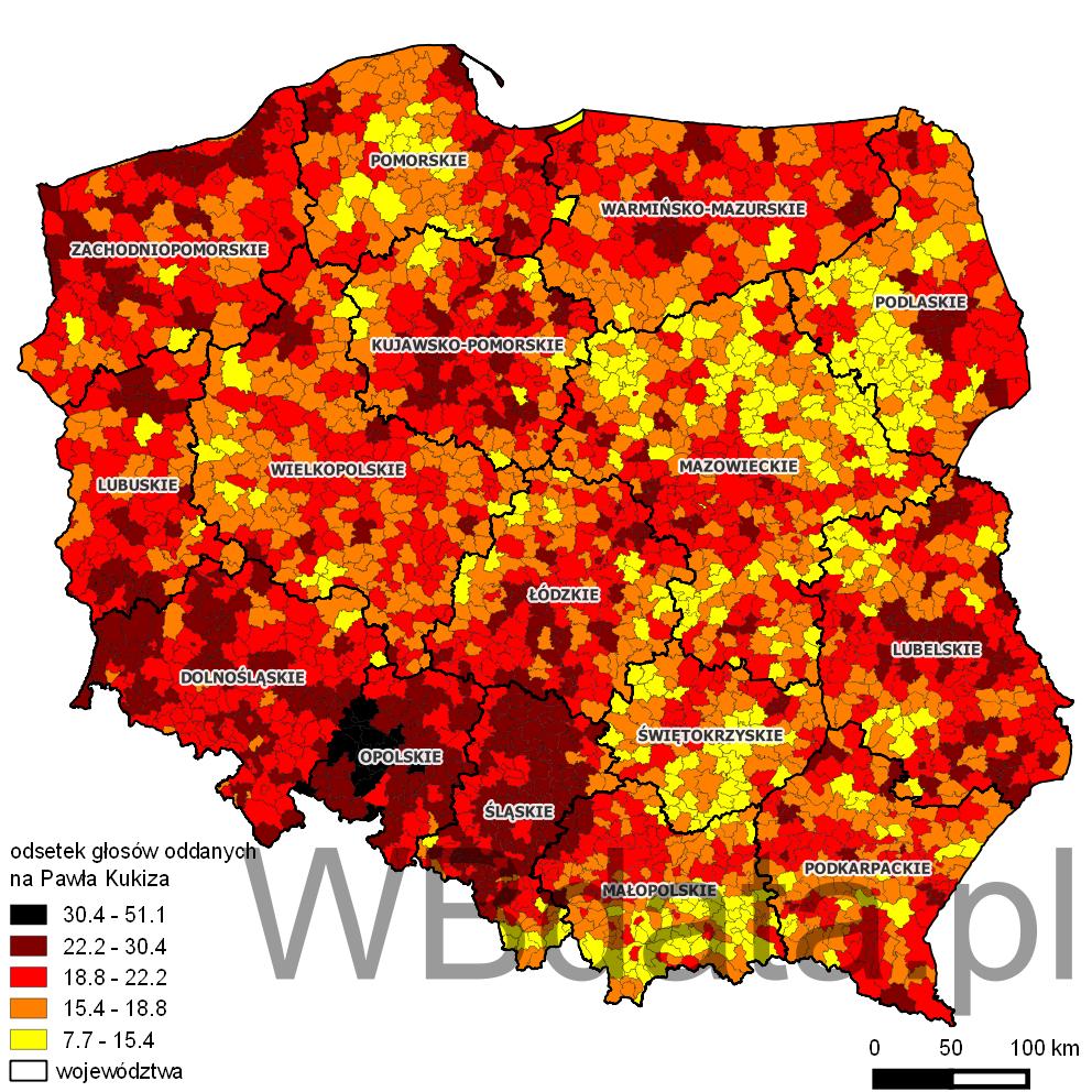 Mapa przedstawiająca odsetek głosów oddanych na Pawła Kukiza