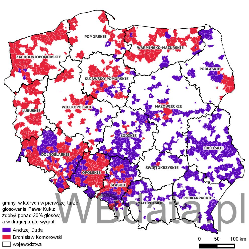 Mapa przedstawia gminy w których w pierwszej turze oddano ponad 20% głosów na Pawła Kukiza, a w drugiej turze wygrał Duda lub Komorowski.