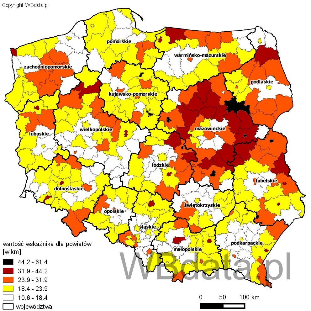 Mapa przedstawiająca wartość wskaźnika mobilności przy dojazdach do pracy dla powiatów