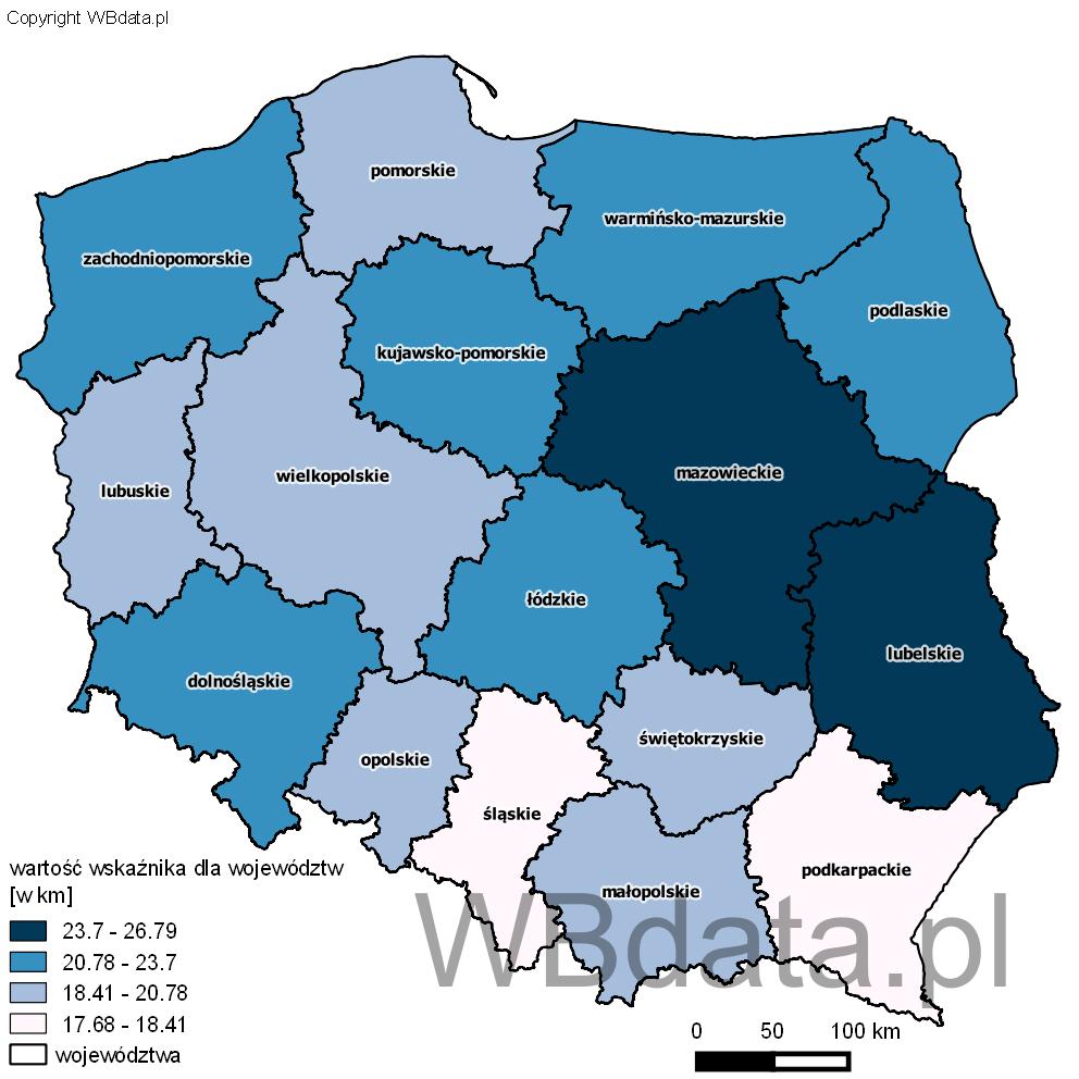 Mapa przedstawiająca wartość wskaźnika mobilności przy dojazdach do pracy dla województw