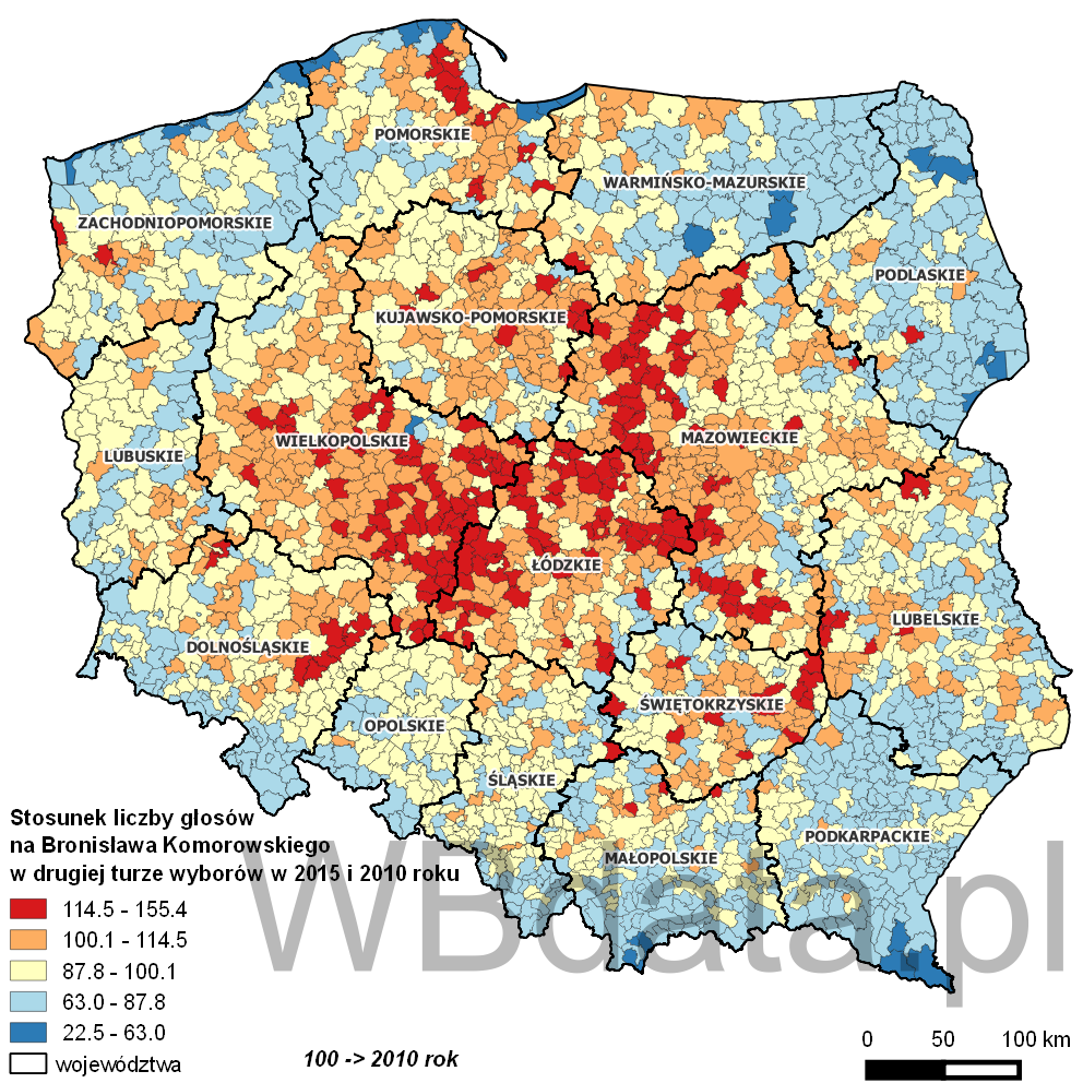 Mapa przedstawia dynamikę poparcia Bronisława Komorowskiego w wyborach w 2010 i 2015 roku