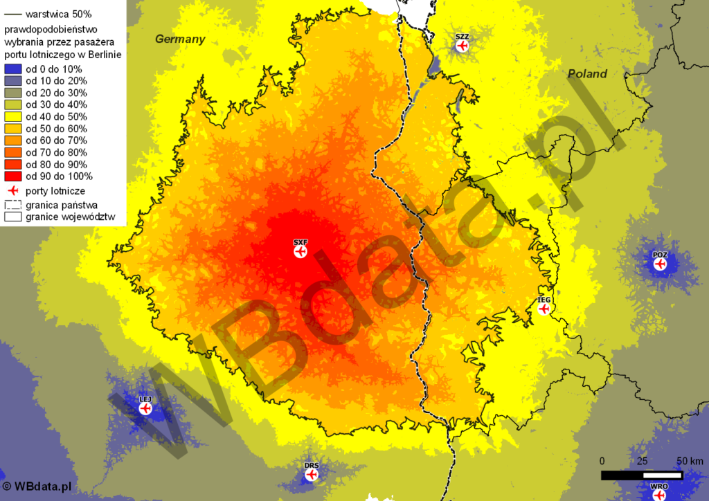 The impact range of Berlin airport in Poland