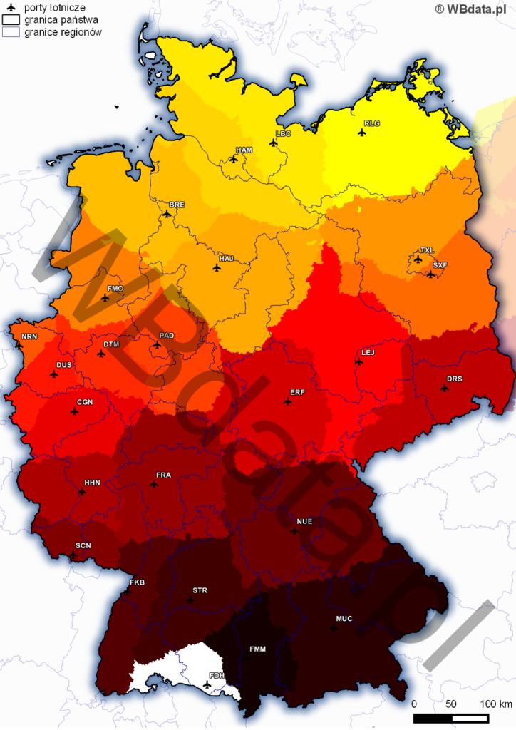 Mapa najbliższych czasowo obszarów niemieckich lotnisk