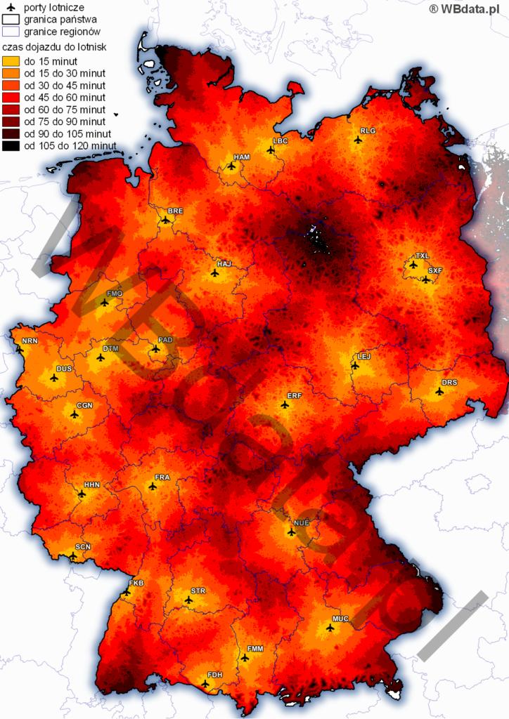 Mapa przedstawia czas dojazdu transportem drogowym do niemieckich lotnisk