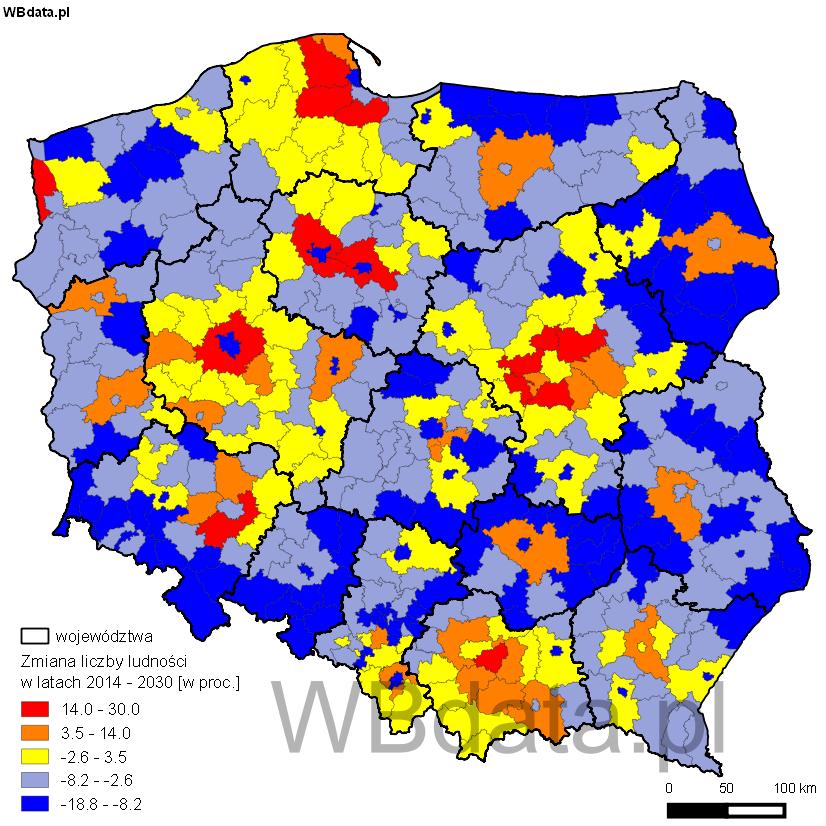 Mapa przedstawia prognozę liczby ludności Polski w podziale na powiaty w 2030 roku.