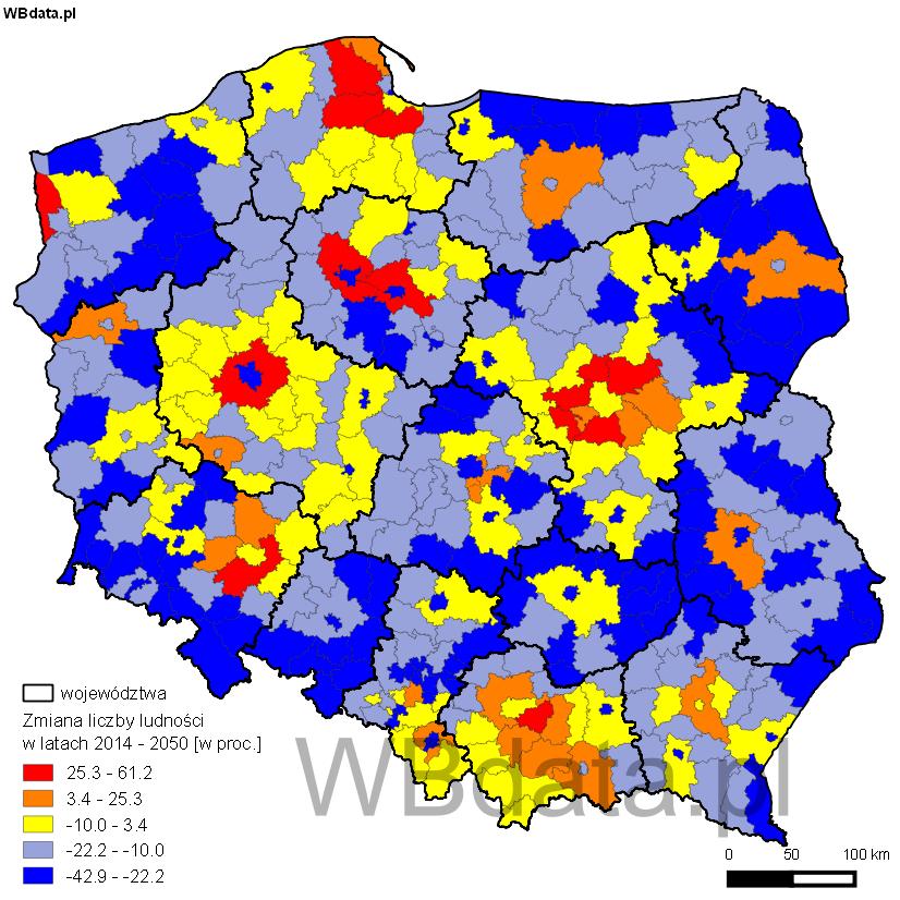 Mapa przedstawia prognozę liczby ludności Polski w podziale na powiaty w 2050 roku.
