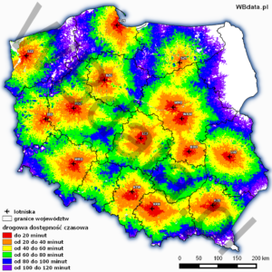 Road accessibility of Polish airports 2015