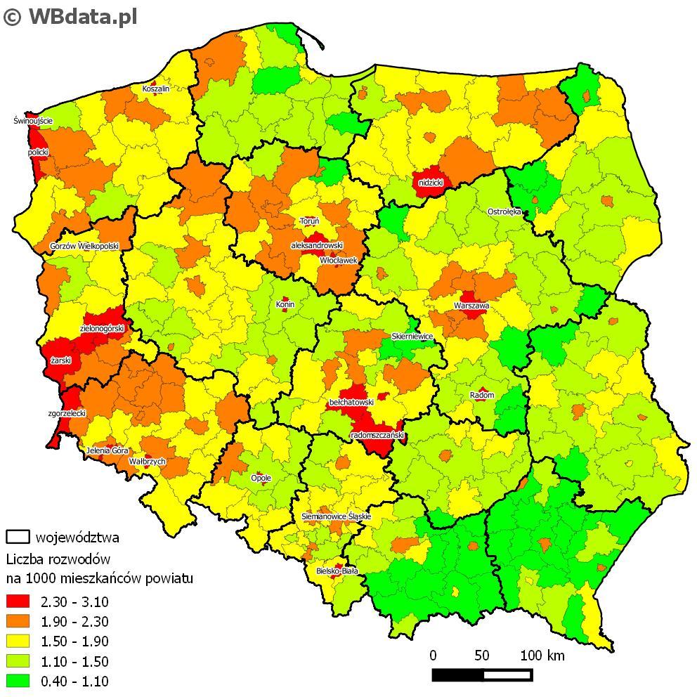 Mapa przedstawia liczbę rozwodów na 1000 mieszkańców powiatu w 2014 roku